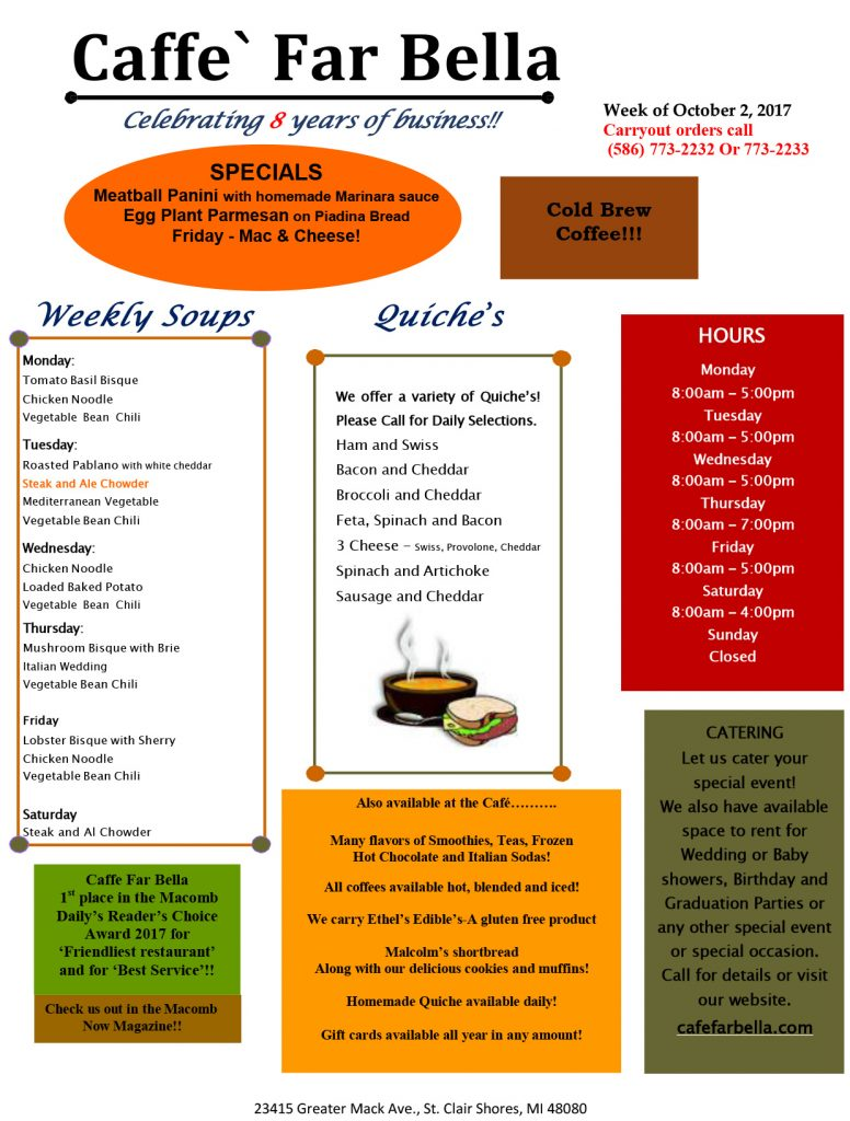 Caffe Far Bella specials for the week of October 2, 2017
