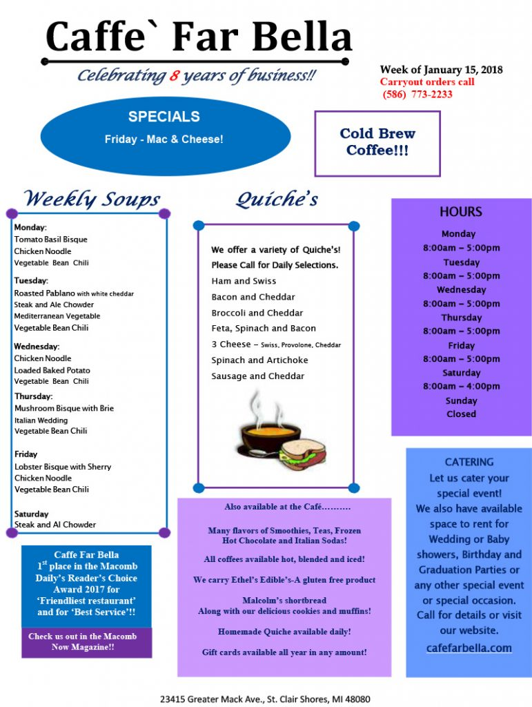 Caffe-Far-Bella-specials-for-the-week-of-January-15,-2018